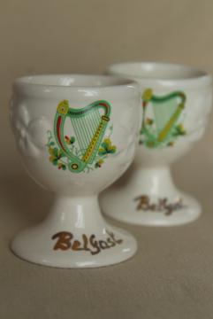 vintage Irish Carrigcraft pottery County Cork, egg cups souvenir of Belfast Ireland