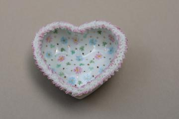 vintage Irish dresden china lace edged heart trinket dish or ring holder