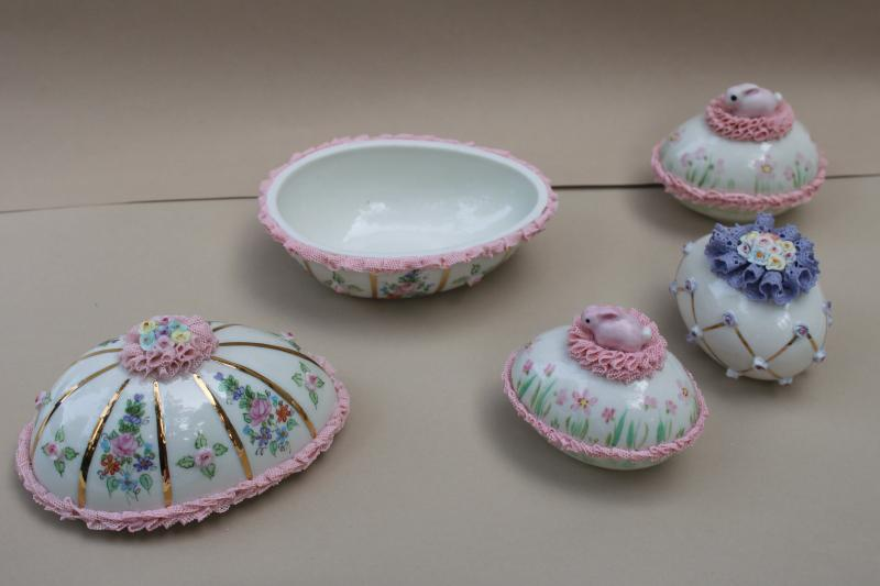 vintage Irish dresden china lace trimmed Easter eggs & egg shaped trinket box