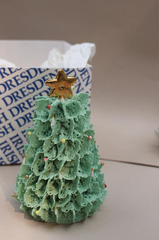 vintage Irish dresden lace china Christmas tree bells, holiday ornaments
