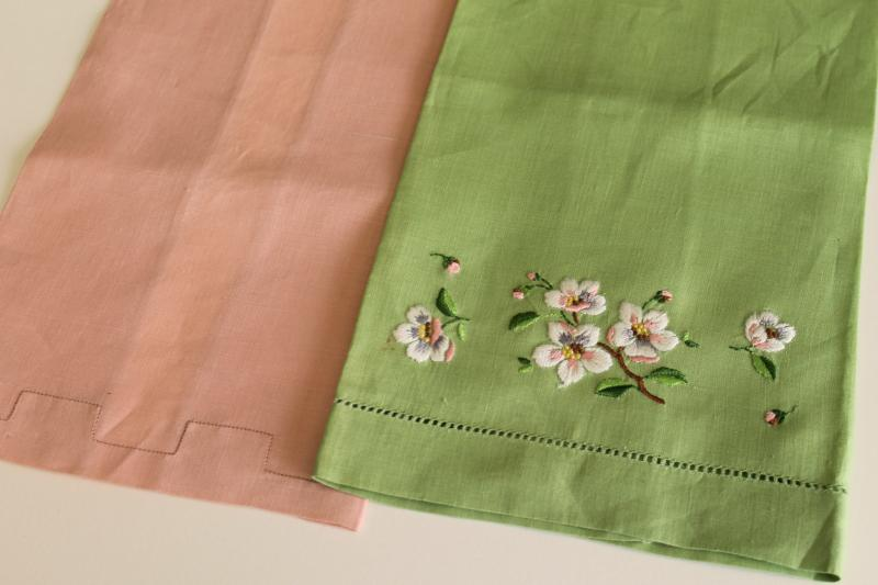 vintage Irish linen guest towels, pastel colors w/ Madeira embroidery original labels