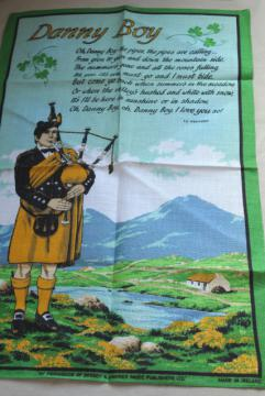 vintage Irish linen tea towel, Danny Boy lyrics print, souvenir of Ireland
