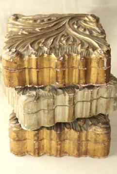 vintage Italian Florentine carved wood boxes w/ shabby old gold distressed antique finish