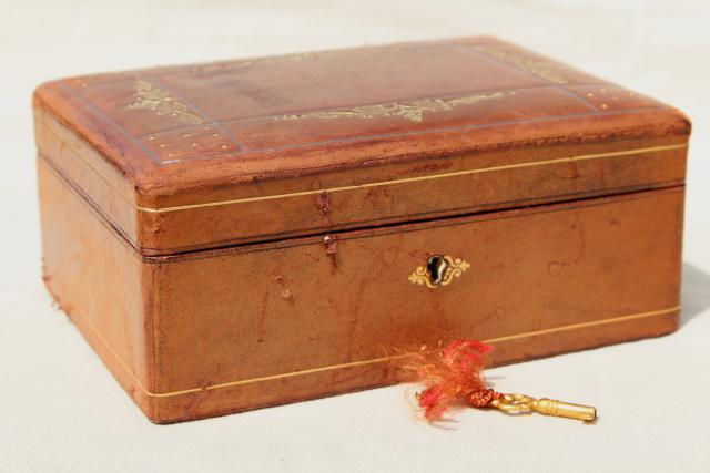 vintage Italian Florentine leather jewelry box w key beautiful old