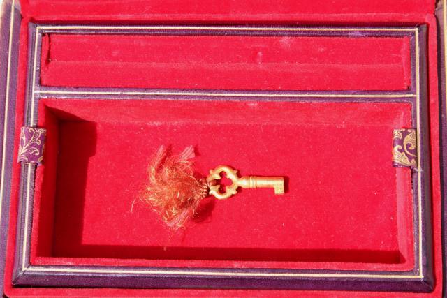 Vintage Italian Florentine Leather Jewelry Box W Key