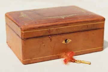 vintage Italian Florentine leather jewelry box w/ key, beautiful old patina