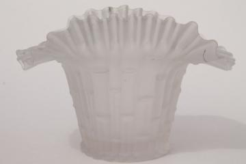 vintage Italian art glass vase w/ bamboo, crimped ruffle - camphor white frosted clear glass