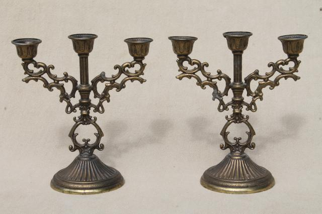 vintage Italian brass candelabra & mirror tray, tiny ornate garniture set w/ candlesticks for small candles