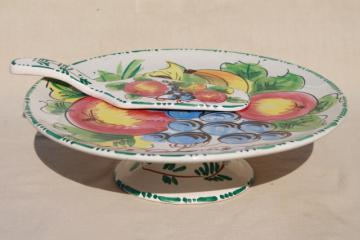 vintage Italian ceramic cake stand & server, hand painted fruit Italy pottery