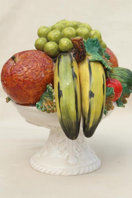 Vintage italian ceramic fruit bowl centerpiece pyramid