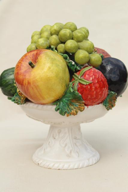 Vintage Italian Ceramic Fruit Bowl Centerpiece Pyramid