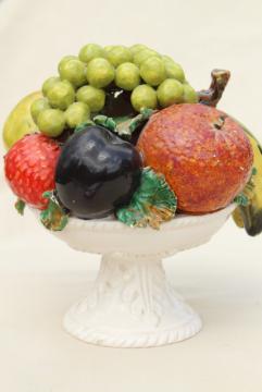vintage Italian ceramic fruit bowl centerpiece, pyramid topiary table decor
