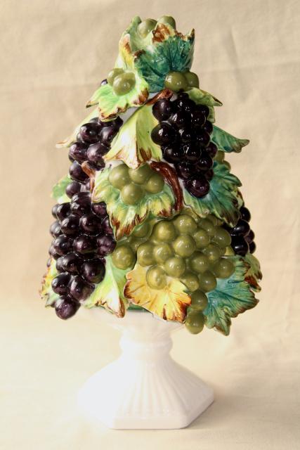 Vintage Italian Ceramic Grapes Fruit Pyramid Table