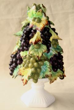 vintage Italian ceramic grapes fruit pyramid, table centerpiece obelisk tower topiary