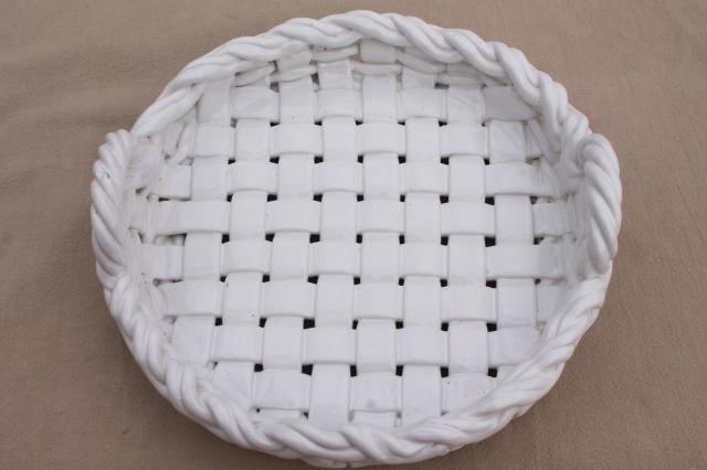 Vintage Italian Ceramic Pie Basket Rustic Farmhouse Table