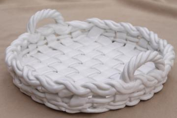 vintage Italian ceramic pie basket, rustic farmhouse table serving dish for pie pan plate