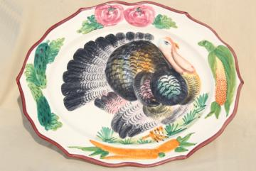 vintage Italian ceramic serving platter w/ hand painted Thanksgiving turkey