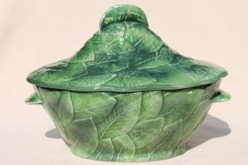 vintage Italian ceramic soup tureen covered bowl, majolica style rose leaf hand painted Italy