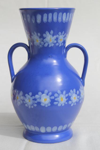 Vintage Italian Ceramic Vase Daisies On Blue Hand Painted