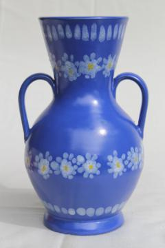 vintage Italian ceramic vase, daisies on blue hand-painted pottery made in Italy