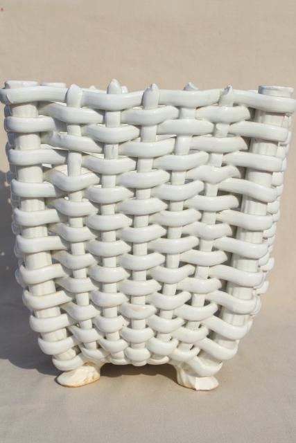 vintage Italian ceramic wastebasket, glossy white basketweave trash can or plant holder