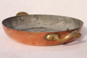 vintage Italian copper gratin flat baking dish / pan with brass handles