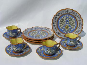 vintage Italian hand-painted earthenware pottery, demitasse coffee / dessert set for 4