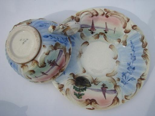 vintage Italian majolica pottery tea cups and saucers, Italy - Deruta?