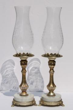 vintage Italian marble / ornate gold metal candlesticks w/ etched glass shades