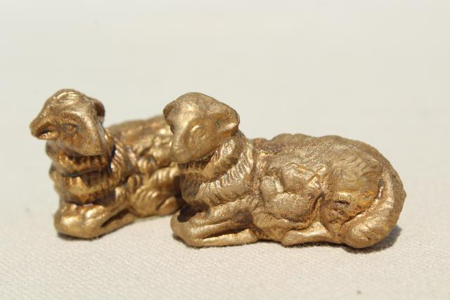 vintage Italian nativity set scene creche figures, 60s mod gold Christmas decorations made in Italy