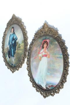 vintage Italian ornate gold metal picture frames w/ curved convex glass, pair of large prints