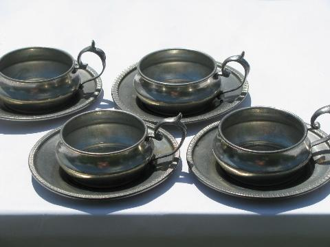 Vintage Italian Pewter Expresso Cups Amp Saucers Tiny
