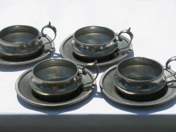 vintage Italian pewter expresso cups & saucers, tiny demitasse cup holders