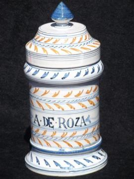 vintage Italian pottery apothecary bottle, hand painted ceramic rose jar