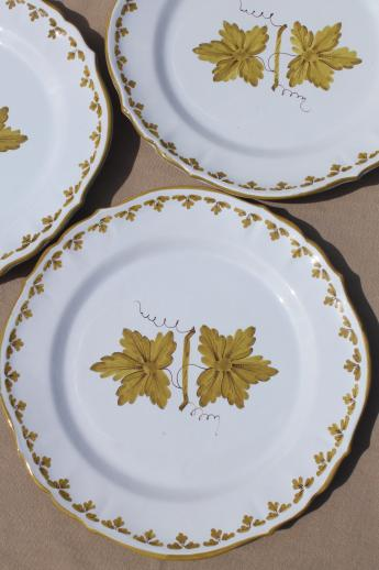 vintage Italian pottery dishes hand-painted green grape leaves dinner plates Made in Italy & vintage Italian pottery dishes hand-painted green grape leaves ...
