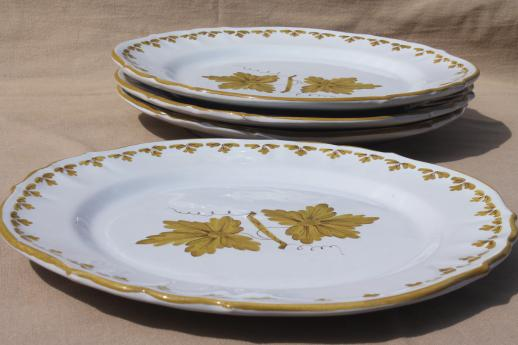 vintage Italian pottery dishes hand-painted green grape leaves dinner plates Made in Italy & Italian pottery dishes hand-painted green grape leaves dinner ...