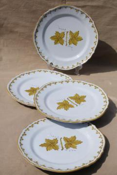vintage Italian pottery dishes, hand-painted green grape leaves dinner plates Made in Italy