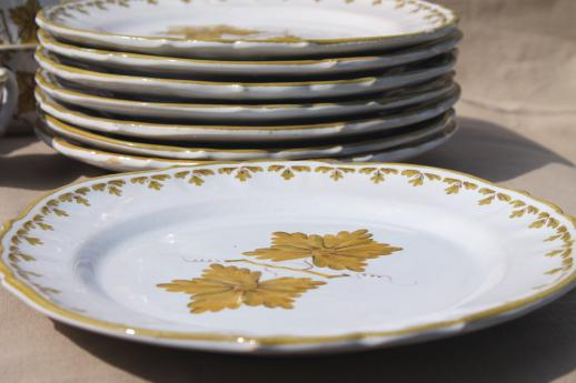 vintage Italian pottery dishes, hand-painted green grape leaves dinnerware set Made in Italy