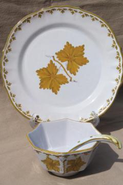 vintage Italian pottery dishes, hand-painted green grape leaves sauce dish set Made in Italy