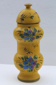 vintage Italian pottery herb jar, hand-painted ceramic apothecary jar made in Italy