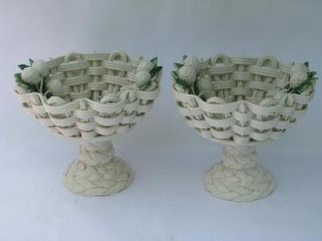 vintage Italian pottery, pair pedestal compote fruit bowls w/ ceramic raspberries
