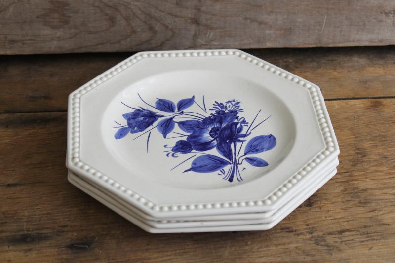 vintage Italian pottery plates, blue & white hand painted earthenware ceramic Italy