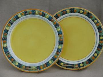 vintage Italian pottery plates, hand-painted della robbia fruit wreath