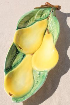 vintage Italian pottery, small tray w/ yellow pears in hand painted ceramic