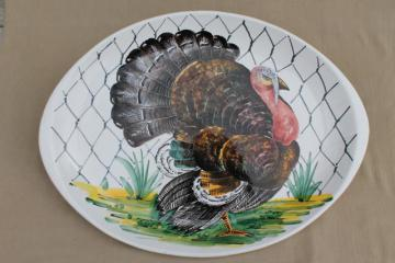 vintage Italian pottery turkey platter, hand-painted ceramic marked Italy