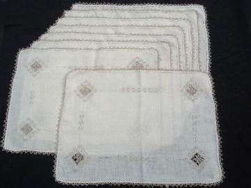 vintage Italian reticella placemats, very fine flax handkerchief linen