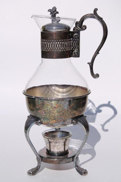 Italian Glass Coffee Maker : vintage Italian silver plate candle warming stand, glass coffee carafe