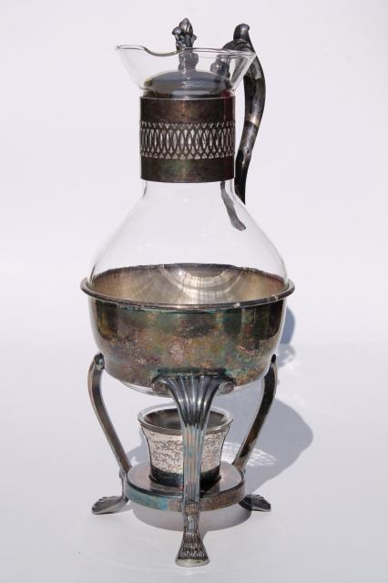 Vintage Italian Silver Plate Candle Warming Stand Glass