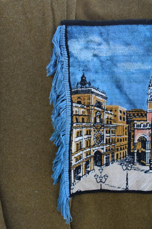 vintage Italian tapestry small rug or wall hanging, St Mark's cathedral