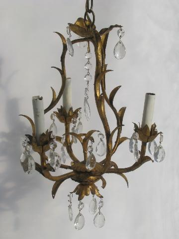 Vintage Italian Tole Candle Chandelier Wall Sconce Light Gilt Metal W Gl Prisms